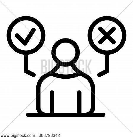 Person Approved Comparison Icon. Outline Person Approved Comparison Vector Icon For Web Design Isola
