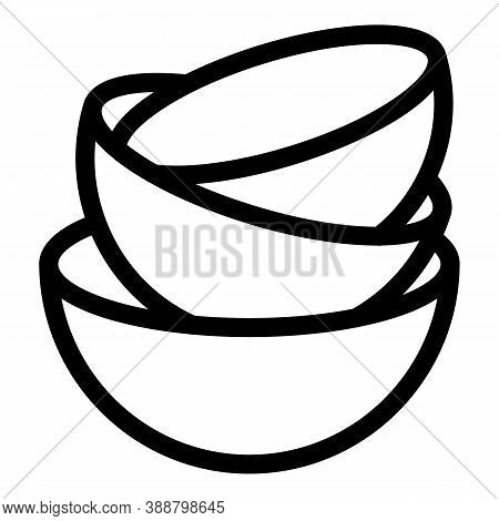 Bowl Stack Icon. Outline Bowl Stack Vector Icon For Web Design Isolated On White Background