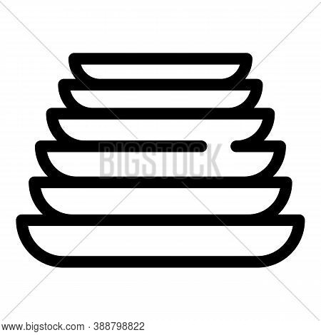 Clean Stack Plates Icon. Outline Clean Stack Plates Vector Icon For Web Design Isolated On White Bac