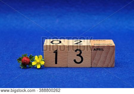 13 April On Wooden Blocks With A Strawberry And A Yellow Flower On A Blue Background