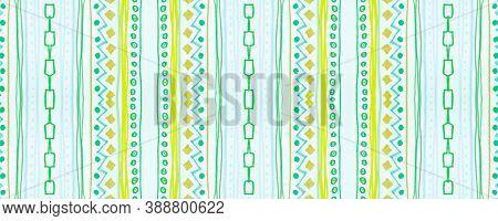 Seamless Tribal Background. Green American Ethnic Pattern. Drawn By Pen Aztec Motif. Geometric Bohem