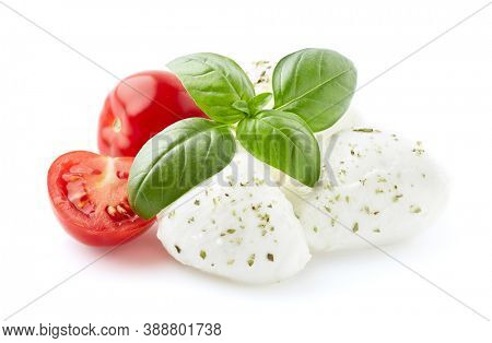 Mozzarella with tomatoes and basil leaves