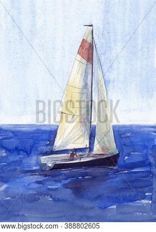 Watercolor Illustration, Hand Drawn Sailboat. Art Print Deep Blue Yacht Sails, Watercolor Effect Blu