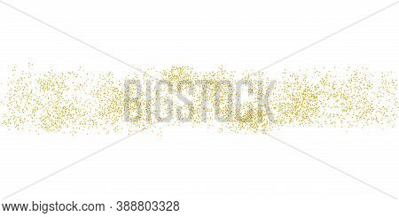 Horizontal Strip Sprinkled With Crumbs Golden Texture. Background Gold Dust On A White Background. S