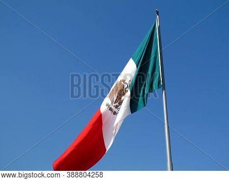 The Flag On Zocalo, Plaza De La Constitucion, Mexico City, Mexico