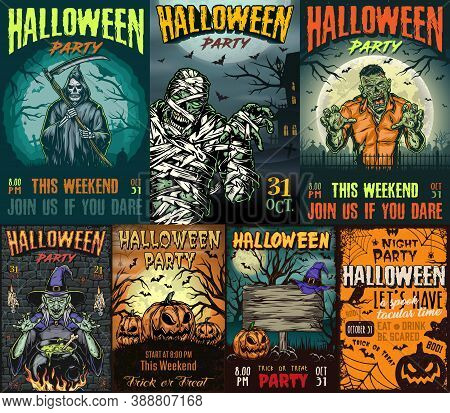 Halloween Party Vintage Colorful Posters With Inscriptions Mummy Grim Reaper Holding Scythe Zombie W