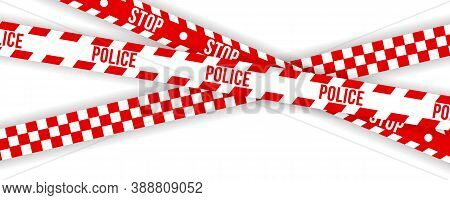 Police Warning Tape, Caution. Red And White Barricade, Do Not Cross, Police, Crime Danger Line, Brig