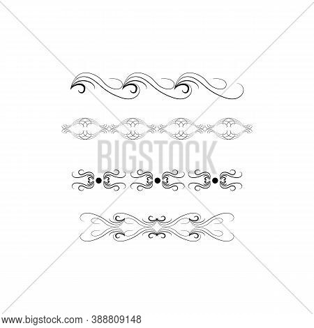 Decorative Swirls Dividers. Elegance Line For Frame, Invitation. Delimiter Old Text, Calligraphic Sw
