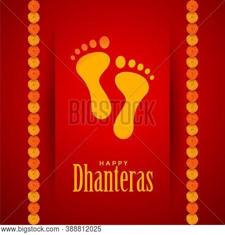 Lord Lakshami Footprints On Dhanteras Festival Vector Design Illustration