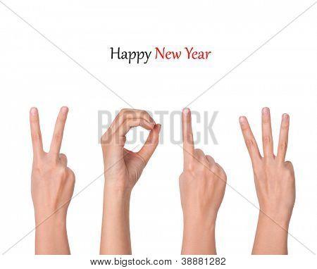 hands forming number 2013