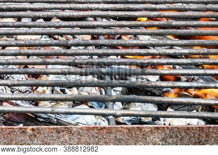 Empty Hot Charcoal Barbecue Bbq Grill With Burning Fire With Flame And Smoke. Hot Coal Made Of Great