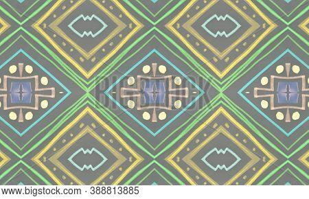 Seamless Tribal Background. Gray Navajo Ethnic Pattern. Drawn By Pen Shibori Motif. Geometric Bohemi