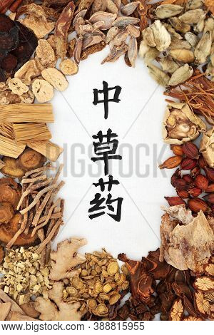 Chinese healing herbs used in traditional herbal medicine with calligraphy script on rice paper  background. Translation reads as chinese healing herbs. Top view.