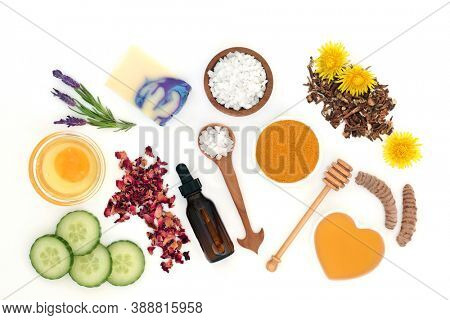 Natural skincare beauty treatment products used to treat skin ailments including sunburn, acne, psoriasis, eczema and helps to reduce environmental damage. Flat lay on white background.