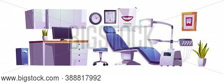 Dentist Office, Dental Clinic Practice Room Interior Set, Stomatology Cabinet, Orthodontist Workplac