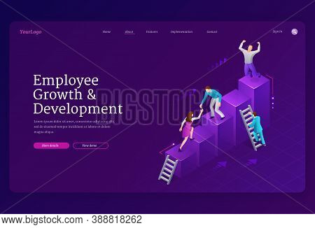 Employee Growth And Development Banner. Concept Of Success In Career, Professional Progress, Teamwor