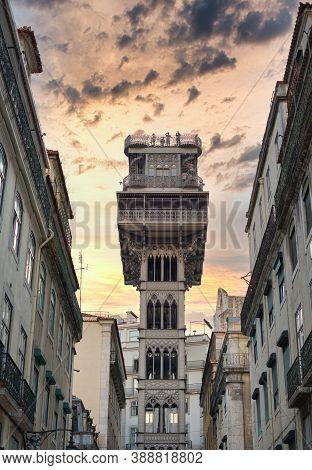 A Popular Santa Justa Lift At Lisbon.