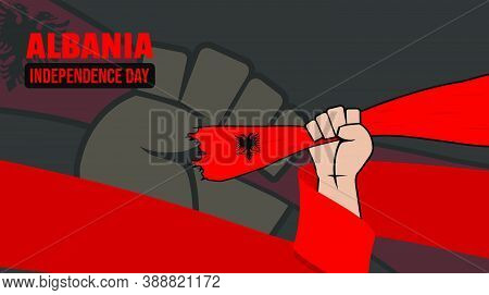 Albania Independence Day Design With Hand Holding Albanian Flag. Good Template For Albanian National
