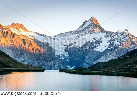 Bachalpsee lake in Swiss Alps mountains on sunset. Snowy peaks of Wetterhorn, Mittelhorn and Rosenhorn on background. Grindelwald valley, Switzerland. Landscape photography