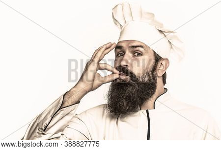 Bearded Male Chefs Isolated On White, Perfect. Chef, Cook Making Tasty Delicious Gesture By Kissing