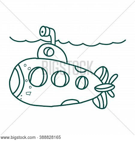 Two Colored Submarine Front View Vector Icon From Army And War. 2 Color Submarine Front View Concept