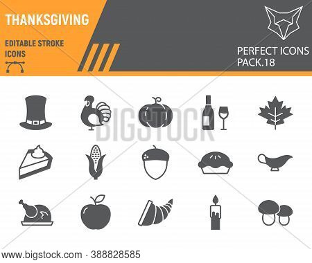 Thanksgiving Glyph Icon Set, Holiday Collection, Vector Sketches, Logo Illustrations, Thanksgiving D