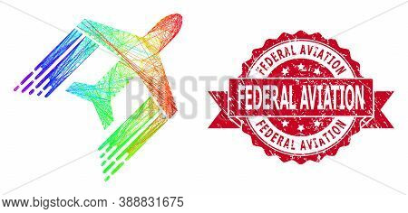Bright Colored Wire Frame Aviation, And Federal Aviation Grunge Ribbon Stamp Seal. Red Stamp Seal In