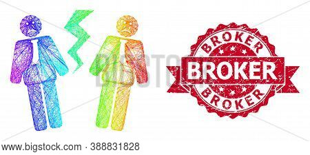 Bright Colorful Wire Frame Businessmen Conflict, And Broker Rubber Ribbon Stamp Seal. Red Stamp Incl