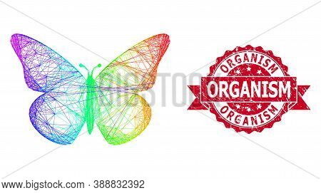 Rainbow Colored Network Butterfly, And Organism Rubber Ribbon Stamp Seal. Red Stamp Seal Contains Or