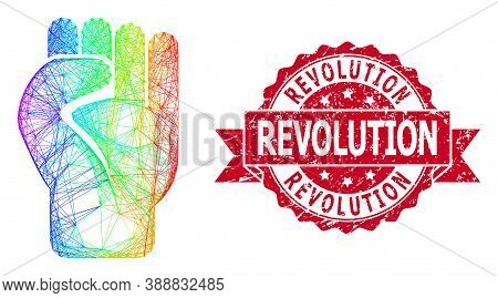 Spectrum Colorful Wire Frame Clenched Fist, And Revolution Corroded Ribbon Stamp Seal. Red Stamp Con