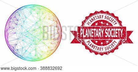 Spectrum Vibrant Net Circle, And Planetary Society Rubber Ribbon Seal Print. Red Stamp Seal Contains