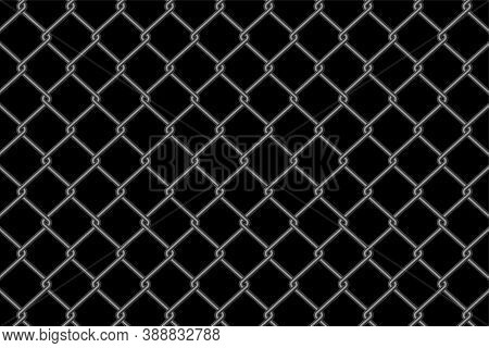 Metallic Chain Link Fence Pattern On Black Background