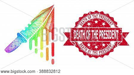 Bright Colored Net Blood Knife, And Death Of The President Scratched Ribbon Stamp Seal. Red Seal Con