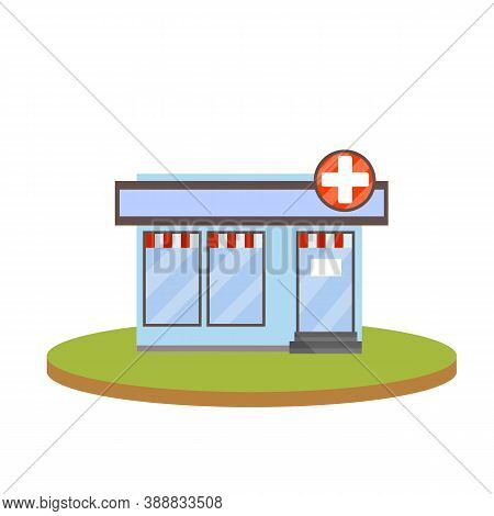 Pharmacy Building. Symbol White Cross On Sign. Medicine And Pharmacology.