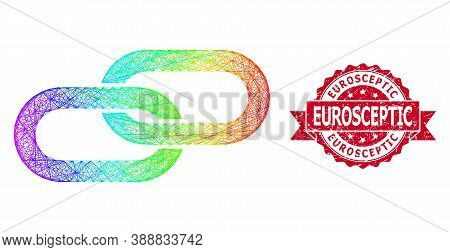 Spectrum Colored Network Chain, And Eurosceptic Corroded Ribbon Stamp Seal. Red Stamp Seal Contains