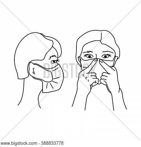 Wear A Medical Mask Correctly, A Schematic Representation Of A Human Face Wearing A Protective Mask,