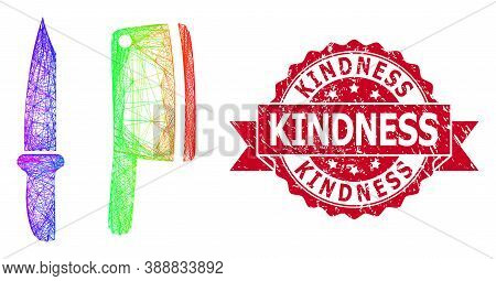 Spectrum Colored Wire Frame Butchery Knives, And Kindness Textured Ribbon Seal Print. Red Stamp Seal