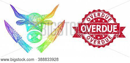 Spectrum Colored Wire Frame Butchery Knives, And Overdue Corroded Ribbon Stamp Seal. Red Stamp Has O