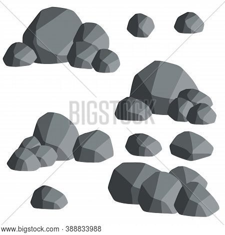 Natural Wall Stones And Smooth And Rounded Grey Rocks. Cartoon Flat Illustration. Element Of Forests