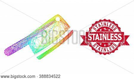 Rainbow Vibrant Net Butchery Knife, And Stainless Grunge Ribbon Stamp Seal. Red Stamp Seal Has Stain