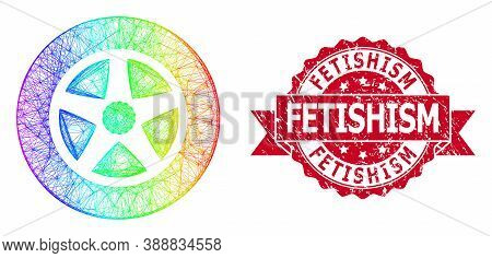 Spectrum Colored Net Car Wheel, And Fetishism Corroded Ribbon Stamp Seal. Red Stamp Has Fetishism Ti