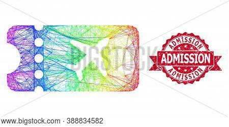 Rainbow Colored Wire Frame Air Ticket, And Admission Scratched Ribbon Watermark. Red Stamp Contains
