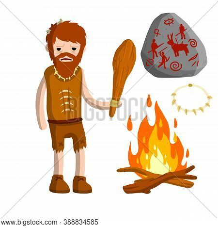 Primitive Caveman. Prehistoric Hunter. Stone Age. Man With Wooden Club. Tribal Items. Concept Of His