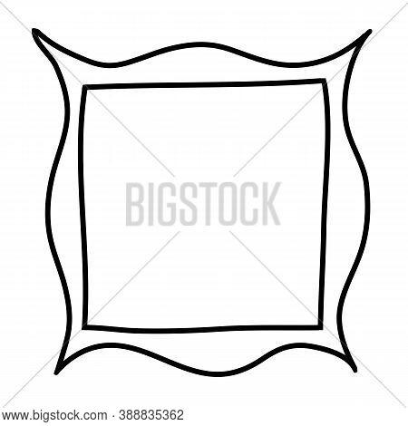Square Frame With Original Plastic Border Hand Drawn. Black And White Design Element For Decoration