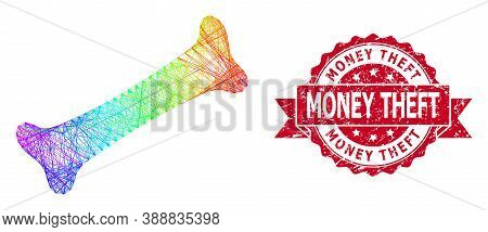 Spectrum Colored Wire Frame Bone, And Money Theft Rubber Ribbon Seal Imitation. Red Seal Has Money T