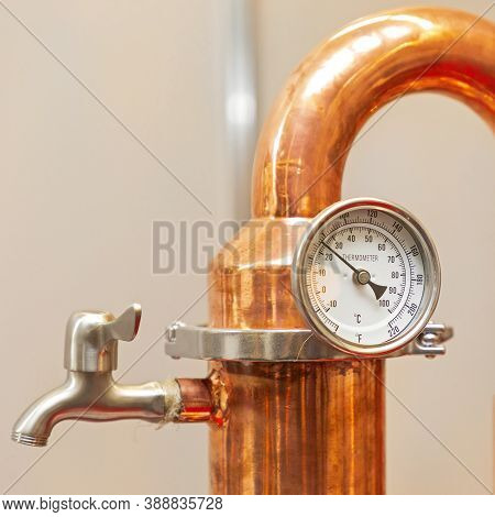 Alcohol Temperature Gauge At Copper Still Pipe Distillery Brewery