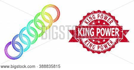 Rainbow Colored Network Circle Chain, And King Power Corroded Ribbon Stamp. Red Stamp Seal Contains