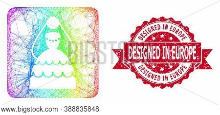 Spectrum Colored Net Bride, And Designed In Europe Scratched Ribbon Seal Imitation. Red Seal Has Des