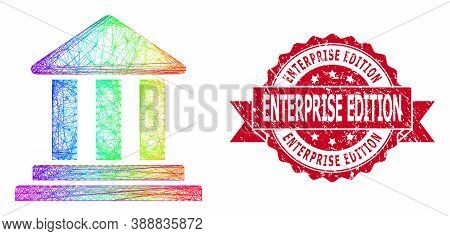 Bright Colored Network Bank Building, And Enterprise Edition Textured Ribbon Stamp Seal. Red Stamp S