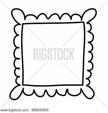 Hand Drawn Square Frame With Original Plastic Border. Black And White Design Element For Decoration.